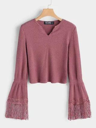WOMEN Pink Tassel Sleeves Cropped Fashion Knitted Sweater