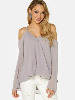 WOMEN Grey Crossed Front Design Cold Shoulder Parially Lined Top