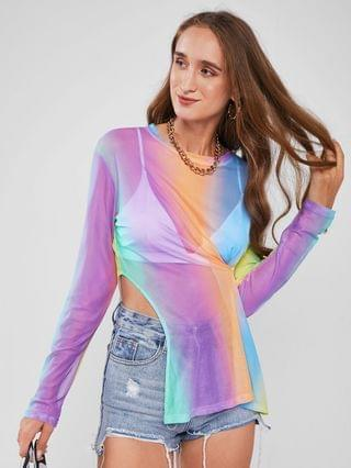 WOMEN Rainbow Ombre Sheer Mesh Notched Side Tee - Multi