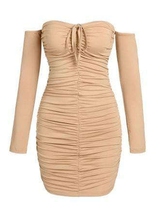 WOMEN Ruched Off The Shoulder Mini Bodycon Dress - Light Coffee Xl