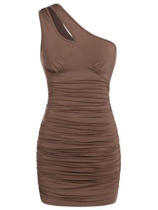 WOMEN Cut Out Ruched One Shoulder Tank Dress - Coffee Xl