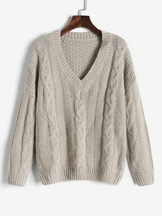 WOMEN Cable Knit Slouchy Chunky Sweater - Light Coffee L