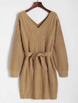 WOMEN Belted Cable Knit Double V Sweater Dress - Coffee M