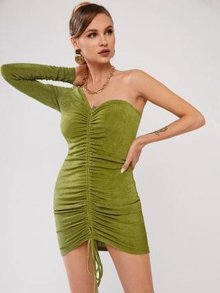 WOMEN One Shoulder Cinched Jersey Bodycon Dress - Light Green L