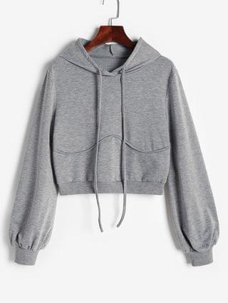 WOMEN Underbust Detail French Terry Lined Hoodie - Light Gray Xl
