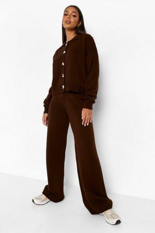 WOMEN Knitted Collared Jumper & Trouser Co-ord