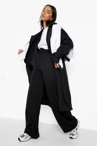 WOMEN Oversized Self Fabric Belted Trousers