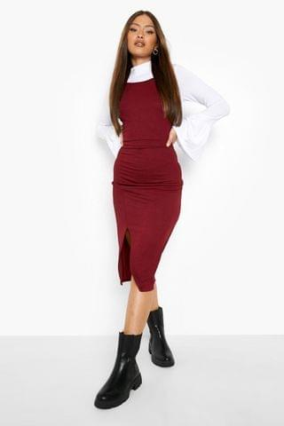 WOMEN Flared Sleeve Roll Neck Top And Slip Dress