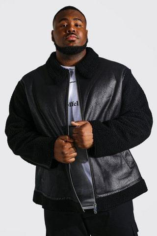 MEN Plus Leather Look And Borg Bomber Jacket