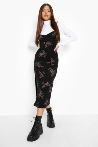 WOMEN Floral Print Slip Dress And Roll Neck Top