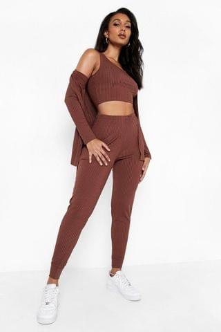WOMEN Ribbed Belted Duster, Crop Top & Jogger Set