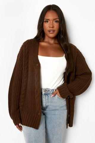 WOMEN Plus Chunky Cable Knit Cardigan