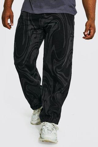 MEN Plus Relaxed Abstract Print Jean