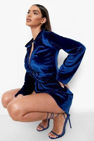 WOMEN Velour Rouched Long Sleeve Shirt Playsuit