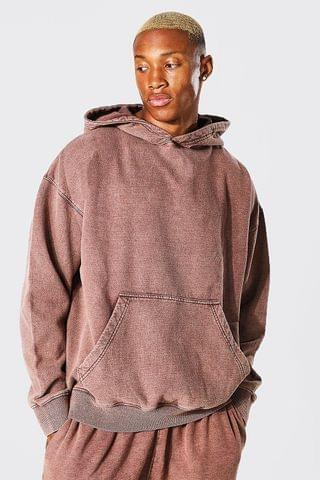 MEN Oversized Washed Hoodie