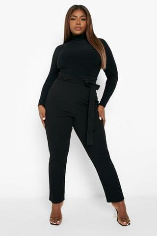 WOMEN Plus High Waisted Belted Tailored Trouser
