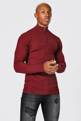 MEN Recycled Muscle Funnel Neck Zip Rib Jumper