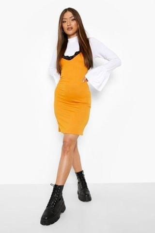 WOMEN Roll Neck Flared Sleeve Top And Slip Dress