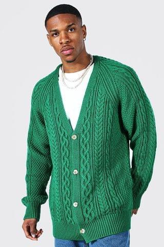 MEN Oversized Raglan Cable Knitted Cardigan