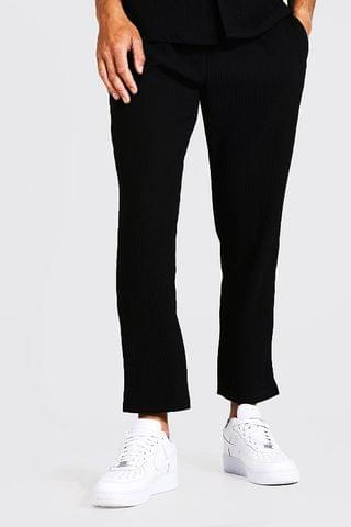 MEN Tall Slim Fit Pleated Crop Trousers