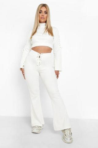 WOMEN Plus Rib Lace Up Top Co-ord