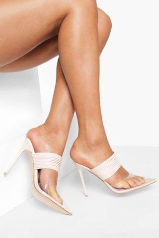WOMEN Wide Fit Layered Strap Clear Court Heels
