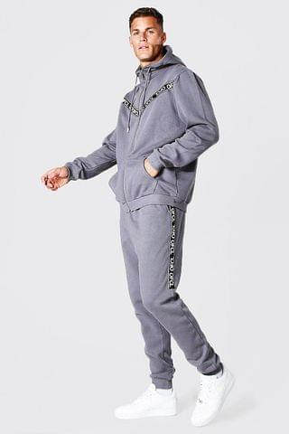 MEN Tall Ofcl Tape Zip Through Hooded Tracksuit