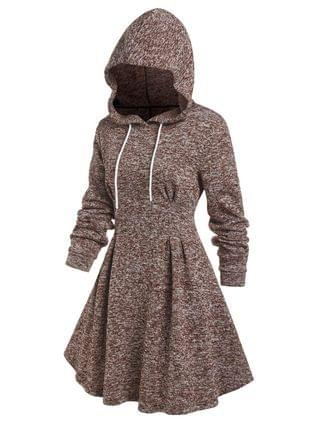 WOMEN Hooded Knitted Mix Color Flare Dress