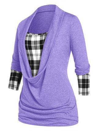 WOMEN Plus Size Plaid Draped Ruched Long Sleeve Tee