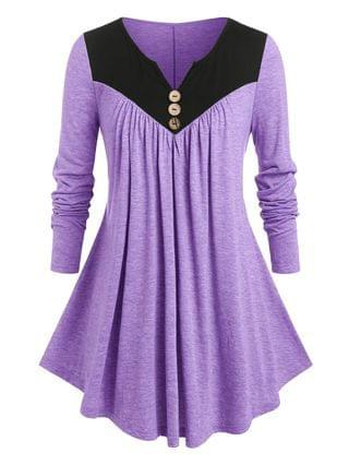 WOMEN Plus Size Two Tone Notched Pleated T Shirt