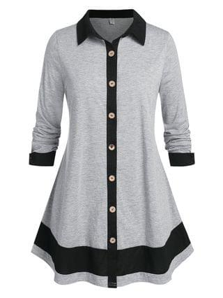WOMEN Plus Size Button Up Bicolor Skirted Tunic Shirt