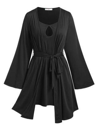 WOMEN Plus Size Keyhole Cami Dress and Belted Robe Set