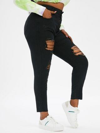 WOMEN Plus Size Ripped Frayed Skinny Jeans