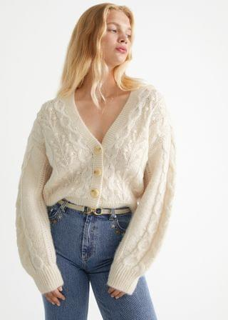 WOMEN Cable Knit Wool Cardigan