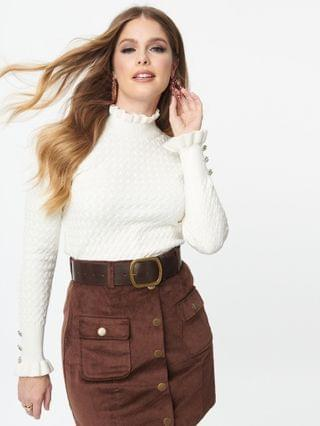 WOMEN Ivory Cable Knit Turtleneck Sweater
