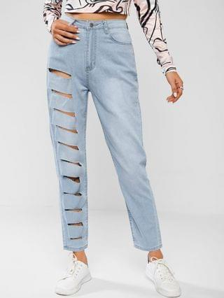 WOMEN Light Wash Ripped Tapered Jeans - Light Blue S