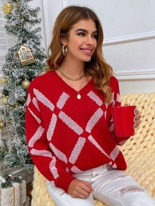WOMEN Slouchy Christmas Geo Graphic Sweater - Red L