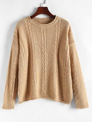 WOMEN Rolled-trim Cable Knit Oversized Sweater - Light Coffee