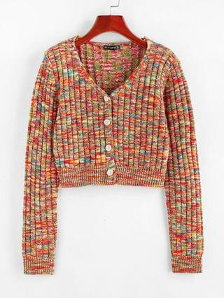 WOMEN Mixed Color Ribbed Cardigan - Multi L