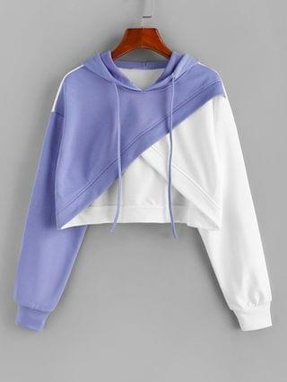 WOMEN Colorblock Crossover Cropped Hoodie - Light Blue M