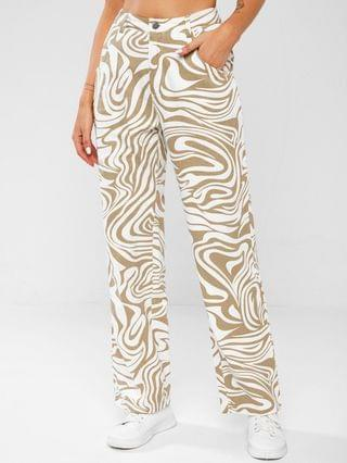 WOMEN High Waisted Psychedelic Print Straight Jeans - Light Coffee L
