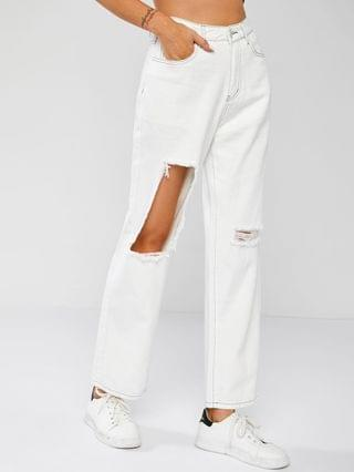 WOMEN Exposed Seam Ripped Jeans - White M