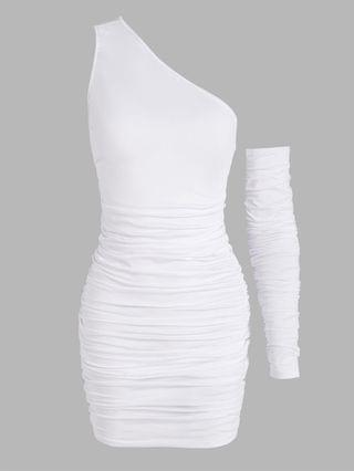WOMEN One Shoulder Ruched Slinky One Sleeve Dress - White M