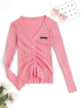 WOMEN Letter Patched V Neck Cinched Sweater - Light Pink