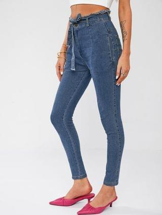 WOMEN Frayed High Waisted Tied Skinny Jeans - Blue M