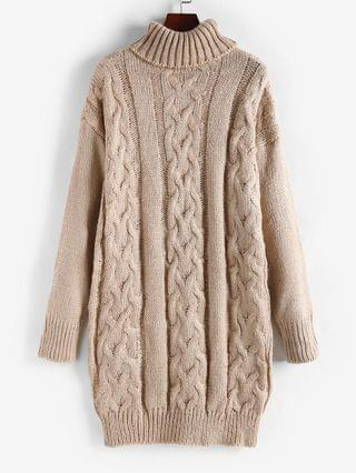WOMEN Turtleneck Cable Knit Chunky Sweater Dress - Light Coffee